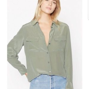 Equipment Femme Signature Silk Shirt Olive Green M